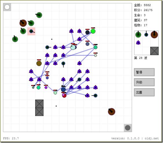 HTML5 开发的塔防游戏